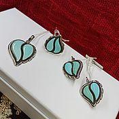 Украшения handmade. Livemaster - original item Silver set with Armenian Turquoise leaves. Handmade.