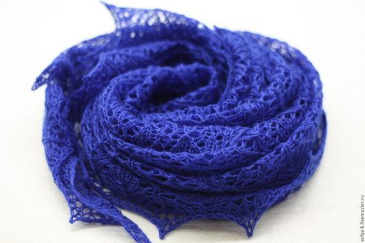 """Шали, палантины ручной работы. Ярмарка Мастеров - ручная работа. Купить Платок """"Роза прерий"""". Handmade. Синий, платок ажурный"""
