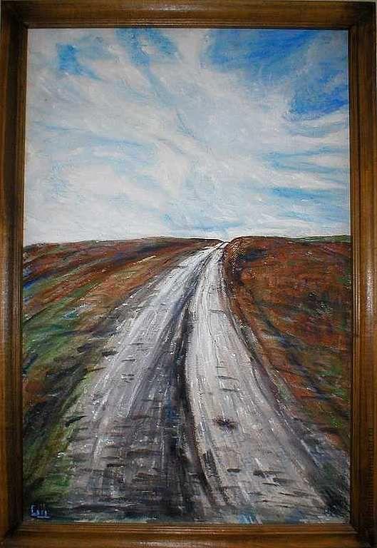 Пейзаж ручной работы. Ярмарка Мастеров - ручная работа. Купить картина  Дорога. Handmade. Хаки, облака, степь, картина для интерьера