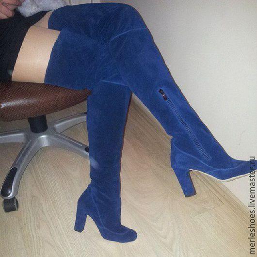 Обувь ручной работы. Ярмарка Мастеров - ручная работа. Купить Ботфорты синяя замша, толстый каблук, 10 см каблук. Handmade.