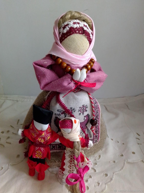 Кукла оберег Материнское благословение на свадьбу с Мезенской росписью, Народная кукла, Рязань,  Фото №1