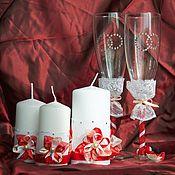 Свадебный салон ручной работы. Ярмарка Мастеров - ручная работа Семейный очаг бело-красный + бокалы. Handmade.