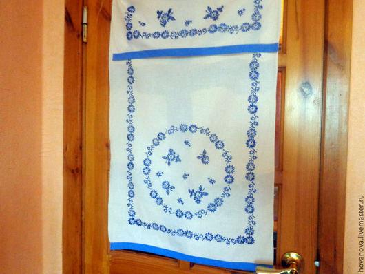 Винтажные предметы интерьера. Ярмарка Мастеров - ручная работа. Купить Шторка   винтажная с  вышивкой Синий хоровод. Handmade. Тёмно-синий