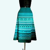 Одежда ручной работы. Ярмарка Мастеров - ручная работа Юбка миди малахит с бирюзой. Handmade.