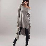 Одежда handmade. Livemaster - original item Grey Asymmetrical Sweater/Cozy Sweater/ Sweater Dress/Knit Dress/F1747. Handmade.