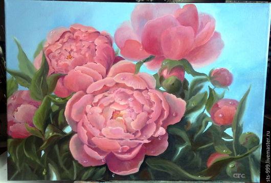 """Картины цветов ручной работы. Ярмарка Мастеров - ручная работа. Купить Картина маслом. """"Дождь закончился"""".. Handmade. Розовый, масло"""