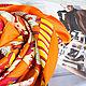 """Шали, палантины ручной работы. Ярмарка Мастеров - ручная работа. Купить Натуральный шелковый платок из ткани HERMES """"Cavaliers du Caucase"""". Handmade."""