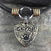 Зоотовары handmade. Livemaster - original item Medallion amulet for a dog in the form of a shield with a paw. Handmade.