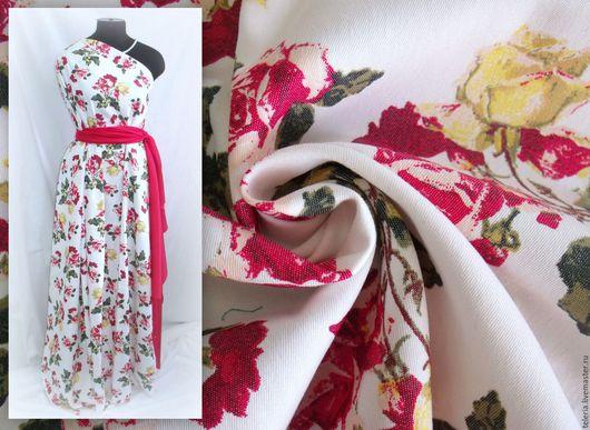 """Шитье ручной работы. Ярмарка Мастеров - ручная работа. Купить Джинс """"Красно-желтые розы"""". Handmade. Ткань для платья, текстиль"""