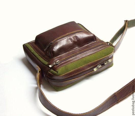 Мужская сумка кожаная с брезентом. Кожаная сумка милитари