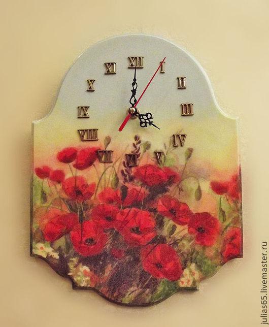 """Часы для дома ручной работы. Ярмарка Мастеров - ручная работа. Купить Часы """"Маковое поле"""". Handmade. Часы, маки"""