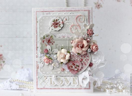 Романтичная открытка `Forever love` от мастерской скрапбукинга Living History