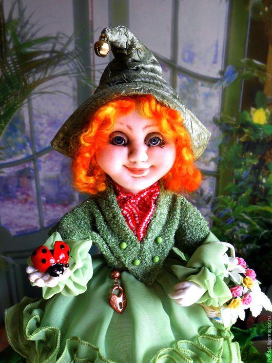 Коллекционные куклы ручной работы. Ярмарка Мастеров - ручная работа. Купить ИНДИС эльфочка  текстильная кукла. Handmade. Зеленый, текстиль