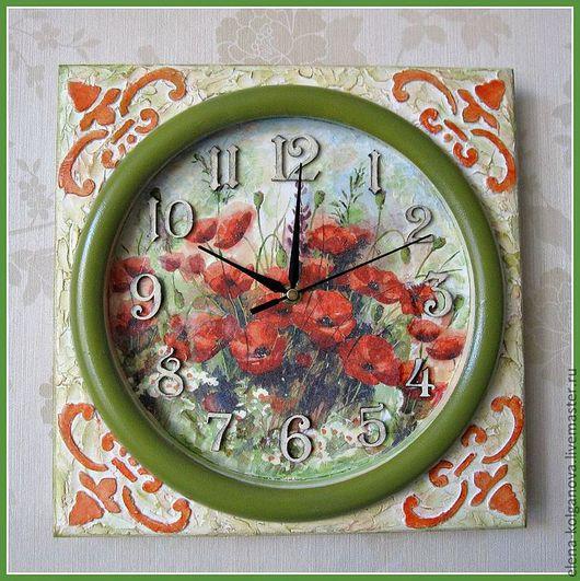 """Часы для дома ручной работы. Ярмарка Мастеров - ручная работа. Купить Часы настенные """"Маки"""" для дома декупаж. Handmade. трафарет"""