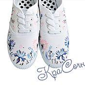 Обувь ручной работы handmade. Livemaster - original item Sneakers with hand-painted Cornflowers. Handmade.
