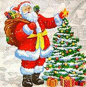 Материалы для творчества handmade. Livemaster - original item 155.  Napkin for decoupage Christmas Santa Claus and tree. Handmade.