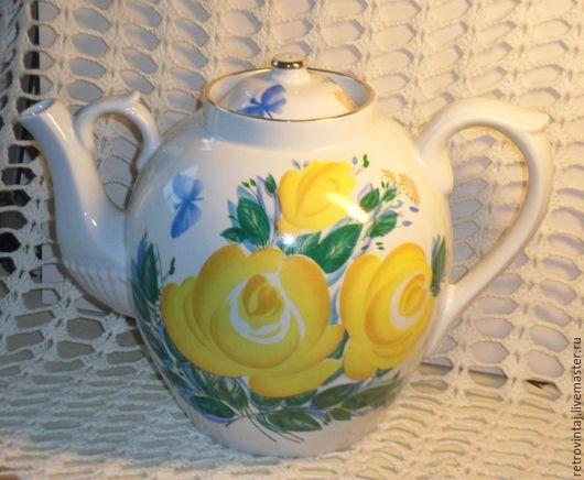 """Винтажная посуда. Ярмарка Мастеров - ручная работа. Купить Доливной чайник """"Желтые розы"""". Handmade. Белый"""