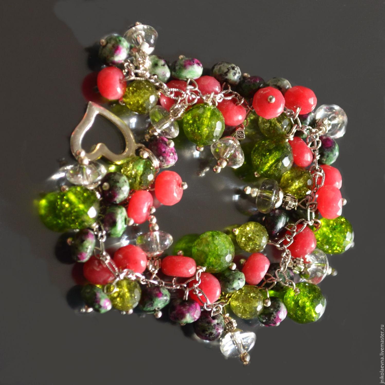 Ягодный микс браслет из натуральных камней