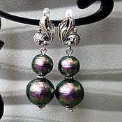 Украшения handmade. Livemaster - original item Women`s pearl earrings cotton green. Handmade.