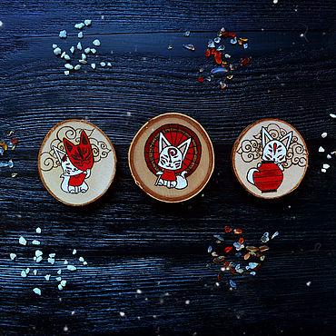 """Сувениры и подарки ручной работы. Ярмарка Мастеров - ручная работа Набор магнитов """"Kitsune"""". Handmade."""