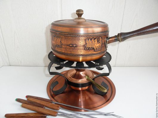 Винтажная посуда. Ярмарка Мастеров - ручная работа. Купить Старинный медный набор для фондю, Германия. Handmade. Комбинированный, Кастрюля, фондюшница