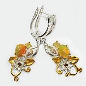 Украшения handmade. Livemaster - original item Handmade 925 sterling silver earrings with natural opals and garnets. Handmade.