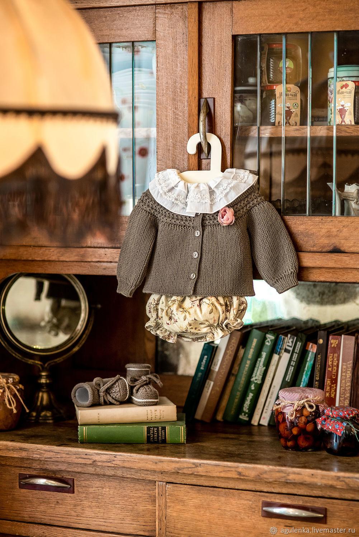 Комплект с блумерами для малышки в винтажном стиле, хаки, Комплекты одежды для малышей, Петрозаводск,  Фото №1