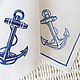 Napkin with Embroidery `Anchor`  `Sulkin house` embroidery workshop
