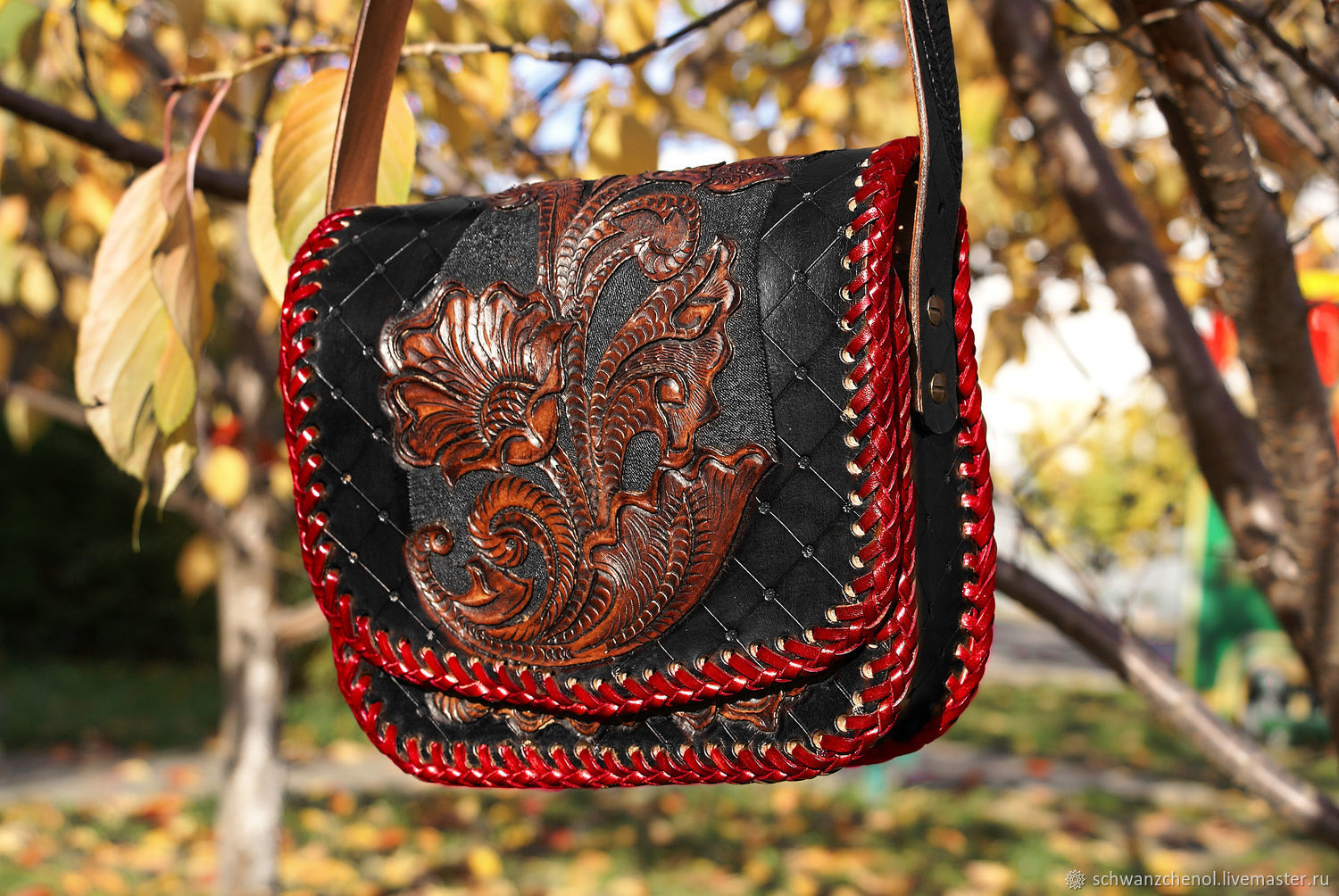 Women's leather bag 'Black and red', Classic Bag, Krasnodar,  Фото №1