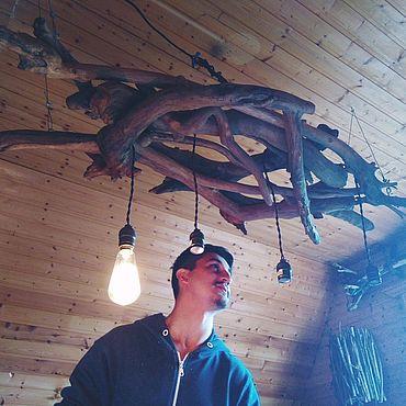 """Освещение ручной работы. Ярмарка Мастеров - ручная работа Люстра из дерева """"Лесная"""". Handmade."""