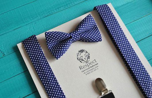 """Галстуки, бабочки ручной работы. Ярмарка Мастеров - ручная работа. Купить Темно синяя галстук бабочка в горошек + подтяжки """"В тренде"""". Handmade."""