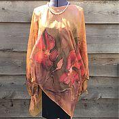 Одежда ручной работы. Ярмарка Мастеров - ручная работа Туника шелковая Цветы. Handmade.
