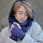 Аксессуары ручной работы. Ярмарка Мастеров - ручная работа Шарф снуд и митенки, шарф-труба фиолетовый и серый. Handmade.