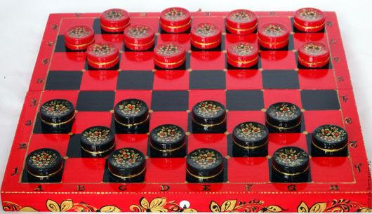Настольные игры ручной работы. Ярмарка Мастеров - ручная работа. Купить Шашки подарочные деревянные чёрно-красные Хохлома. Handmade.
