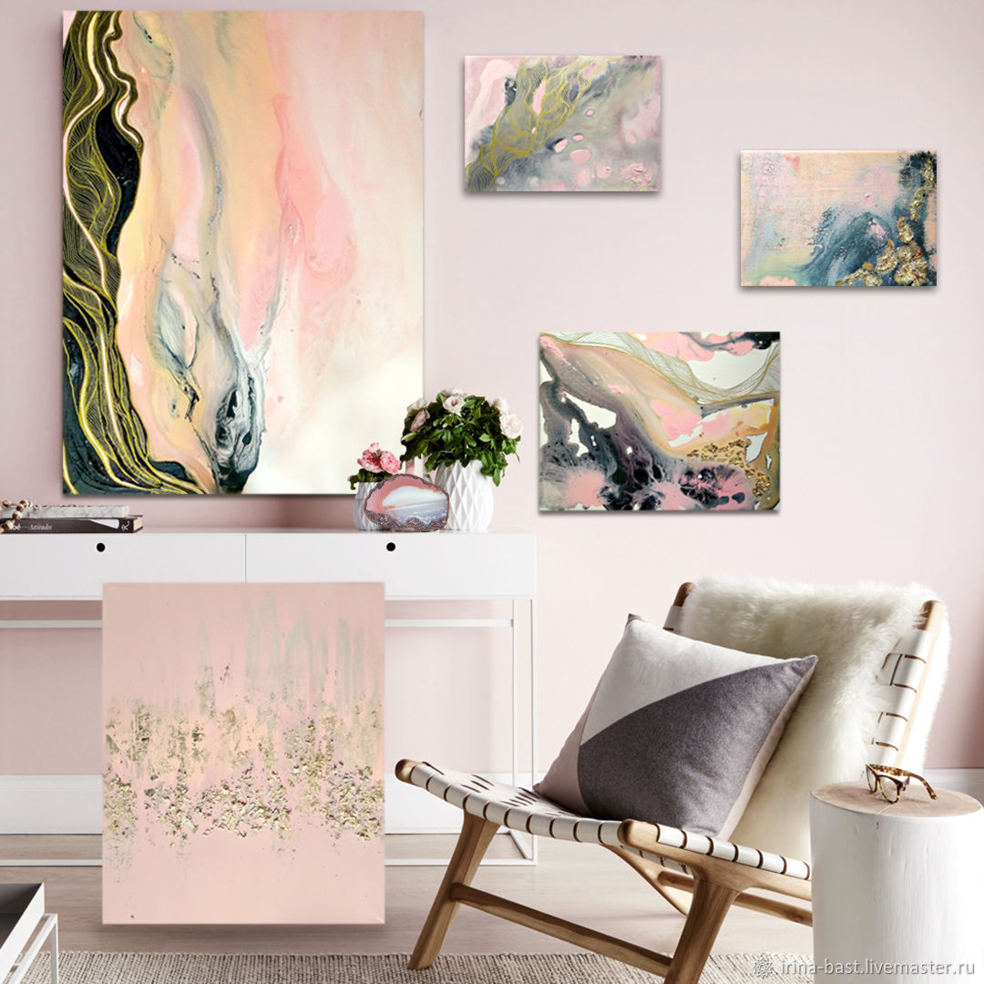 A set of abstract paintings of Pink smoke, a gold petal, Pictures, St. Petersburg,  Фото №1