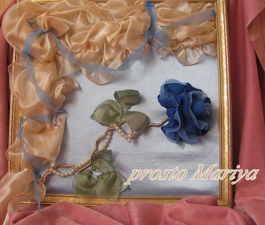 Картины цветов ручной работы. Ярмарка Мастеров - ручная работа. Купить Роза в голубом. Handmade. Багет, бусины, цветы