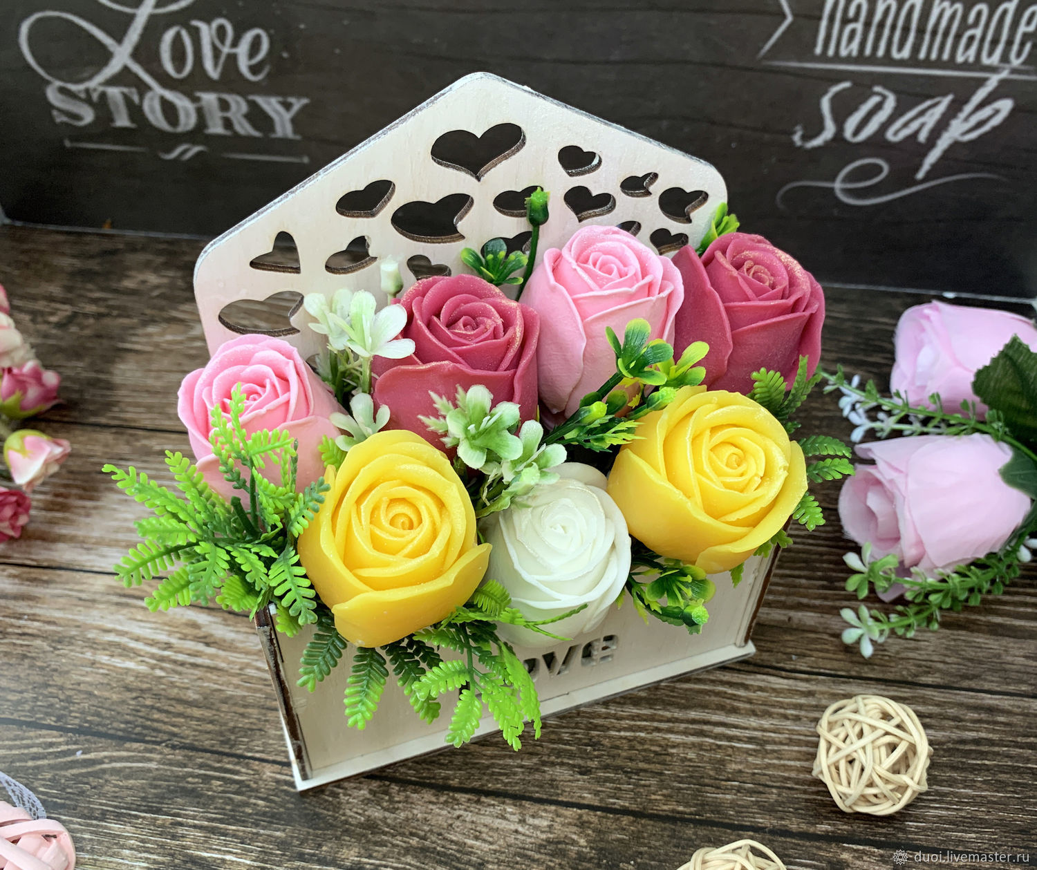 Soap bouquet in a wooden pot Roses mix, Soap, Moscow,  Фото №1