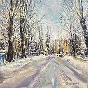 Картины и панно handmade. Livemaster - original item Snow-covered streets oil on canvas 30-30 cm. Handmade.