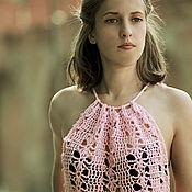 Одежда ручной работы. Ярмарка Мастеров - ручная работа Розовая вязаная пляжная туника вязаное платье летнее стильная одежда. Handmade.