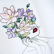 """Футболки ручной работы. Ярмарка Мастеров - ручная работа Вышивка на футболке: """"Девушка с цветами"""". Handmade."""