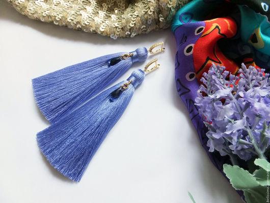 """Серьги ручной работы. Ярмарка Мастеров - ручная работа. Купить Серьги - кисточки """"Violet chic"""". Handmade. Серьги, серьги длинные"""