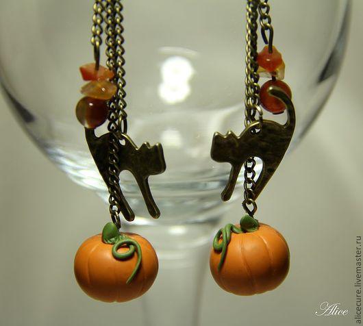 """Серьги ручной работы. Ярмарка Мастеров - ручная работа. Купить Сережки """"Хэллоуиновские"""". Handmade. Оранжевый, серьги"""