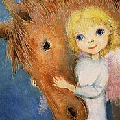 Открытки handmade. Livemaster - original item Angel with horse greeting Card for all occasions. Handmade.