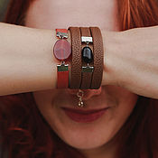 Украшения handmade. Livemaster - original item Set of bracelets with stones autumn for signs of the zodiac Taurus ,Cancer. Handmade.