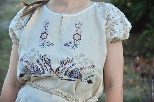 """Блузки ручной работы. Ярмарка Мастеров - ручная работа. Купить Блузка """"Лебеди"""". Handmade. Бежевый, славянская одежда, одежда из льна"""