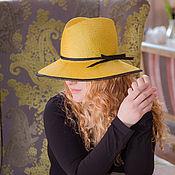Аксессуары ручной работы. Ярмарка Мастеров - ручная работа Соломенная желтая шляпа с широкими полями.. Handmade.