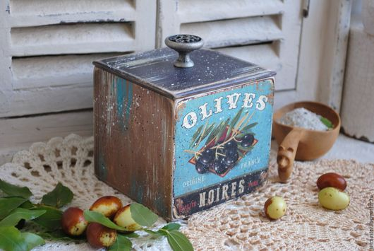 """Кухня ручной работы. Ярмарка Мастеров - ручная работа. Купить Коробок для специй соли и трав """"Оливки"""" коробочка декупаж. Handmade."""