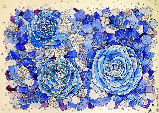 """Картины цветов ручной работы. Ярмарка Мастеров - ручная работа. Купить """" Роза Blue """". Handmade. Тёмно-синий"""
