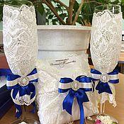 Свадебный салон ручной работы. Ярмарка Мастеров - ручная работа Свадебный набор: бокалы подушечка и шампанское. Handmade.