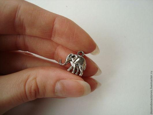 Для украшений ручной работы. Ярмарка Мастеров - ручная работа. Купить Подвеска - слоник, двухсторонний, для украшений под серебро.. Handmade.